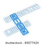 profit, loss and risk crossword - stock photo