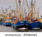 Famous dutch fishing fleet at Lauwersoog - stock photo