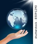 Globe in human hand - stock photo