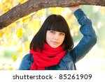 cute girl in red scarf - stock photo
