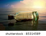 Ship in a bottle at sea concept - stock photo