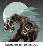 A frightening werewolf in front of moonlit sky. Halloween illustration. - stock photo