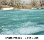 spring ice on a river - stock photo