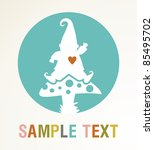 White elf silhouette on a mushroom with colored text card . - stock photo