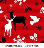 Christmas elements and reindeer over red striped pattern background . - stock photo