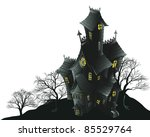 Illustration of a haunted ghost house - stock photo