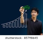 man hand drawing a chart isolated - stock photo