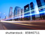 modern city at dusk with street traffic in beijing,China - stock photo