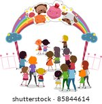 Illustration of Families Entering a Theme Park - stock vector