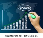 Hand showing success graph isolated - stock photo