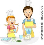 Illustration of a Girl and a Woman Using a Blender to Prepare Food - stock vector
