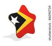 East Timor flag STAR BANNER - stock photo