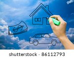 hand drawing home money car on blue sky - stock photo
