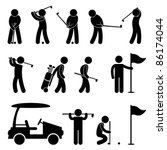 Golf Golfer Swing People Caddy Caddie Icon Sign Symbol Pictogram - stock vector