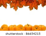 Double edge border of autumn leaves and pumpkins over white - stock photo