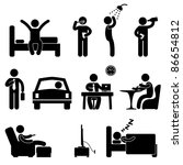 Man Daily Routine People Icon Sign Symbol Pictogram - stock photo