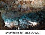 Stalactite Stalagmite Cavern. Stalactite Cave in israel - stock photo