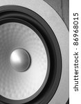 full frame abstract speaker detail, futuristic ambiance in grey, metallic and black - stock photo