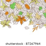 Autumn Leaves Silhouettes Background For Seasonal or Thanksgiving Design. Vector version also available in gallery - stock photo