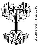 Conceptual abstract tree silhouette illustration. Tree with branches in the shape of a heart with strong roots. Love needing strong foundations or just concept for love. - stock photo