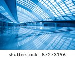 modern hall inside in airport express station at beijing terminal 3 - stock photo