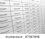 abstract detail of a light grey cabinet - stock photo