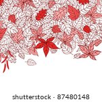 Red Autumn Leaves Silhouettes Background For Seasonal Or Thanksgiving Design. Vector version also available in gallery - stock photo