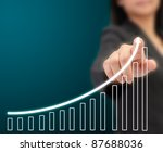 Business woman hand drawing a graph by finger - stock photo