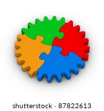 gear of colorful jigsaw puzzles on white background - stock photo