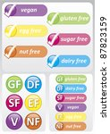 Selection of colorful food allergy labels including gluten free, nut free, dairy free, sugar free and egg free - stock photo