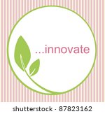 Fresh innovative logo with green circle and leaf, creating an organic, natural feel. - stock photo