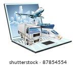 Logistics laptop computer, delivery, transportation; plane, truck, ship, train concept - stock photo