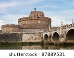 Mausoleum of Hadrian, usually known as the Castel Sant'Angelo - stock photo