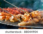 Barbecue chicken at summer - stock photo