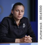 NEW YORK - AUGUST 29: Vera Zvonareva of Russia attends press conference at USTA Billie Jean King National Tennis Center on August 29, 2011 in NYC - stock photo