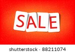 word sale on a red background - stock vector