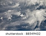Beautiful wispy clouds for a background or wallpaper. - stock photo
