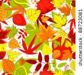 Autumn falling leaves seamless background for seasonal design. Vector version also available in gallery - stock photo