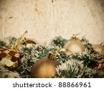 Grunge Christmas golden decoration background with space for your text - stock photo