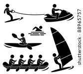 Water Sea Sport Surfing Skurfing Rowing Windsurfing Rafting Kayak Icon Symbol Sign Pictogram - stock vector