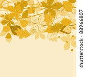 Autumnal leaves on colorful background for seasonal design. Vector version also available in gallery - stock photo