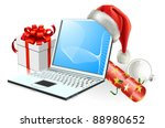 Christmas laptop computer with Santa hat, gift cracker and bauble - stock vector