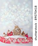 holiday background with Christmas balls and ribbon - stock photo