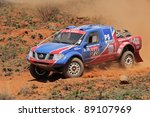 BLOEMFONTEIN, SOUTH AFRICA - OCTOBER 15: Alfie Cox and Jurgen Schroeder in their Nissan Navara in action during a South African off road championship event in Bloemfontein, South Africa on October 15, 2011 - stock photo