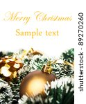 Gold Christmas background with ornaments - stock photo