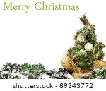 Christmas tree isolated on white - stock photo