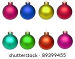 Set Christmas baubles isolated on white - stock photo