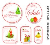 illustration of set of christmas tag in different shape - stock vector