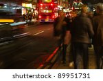 at night in the streets of london - stock photo