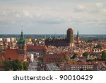 Old town with St. Mary's Church in Gdansk, Poland - stock photo